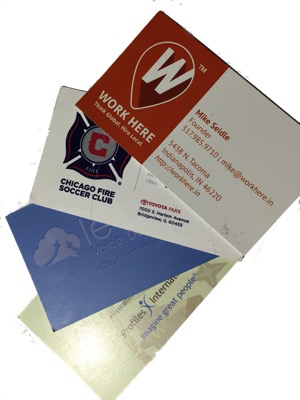 business cards put through a business card slitter