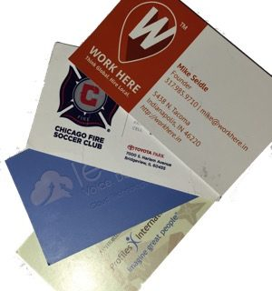 business cards put through a business card slitter